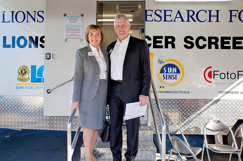 International President elect Gudrun & John view the C Districts cancer screening unit